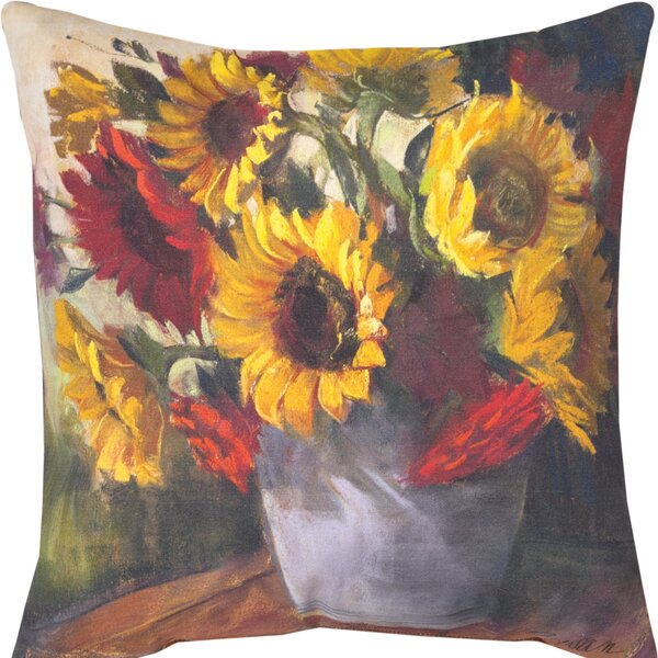 September Sunflowers Throw Pillow by Manual Woodworkers & Weavers