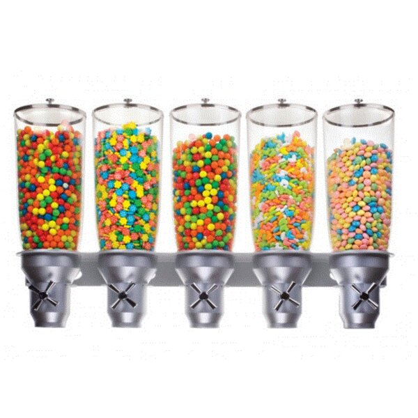845.35 Oz. Pentadruple Canister Cylinder Cereal Dispenser by Cal-Mil