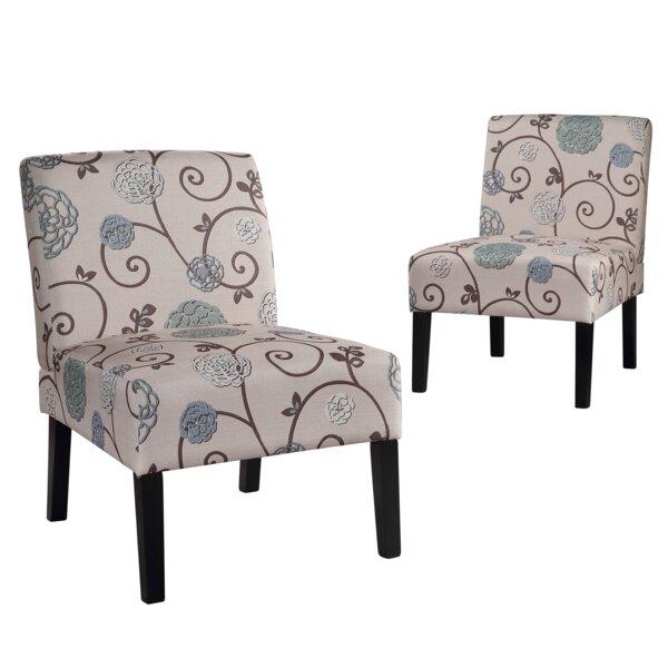 Bole Slipper Chair in White (Set of 2) by Red Barrel Studio Red Barrel Studio®