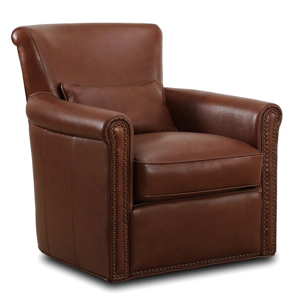Sterrett Genuine Leather Self Centering Swivel Club Chair by Darby Home Co Darby Home Co
