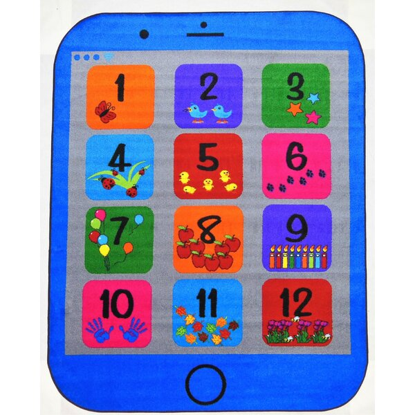 Jeon Phone Number Blue Area Rug by Zoomie Kids