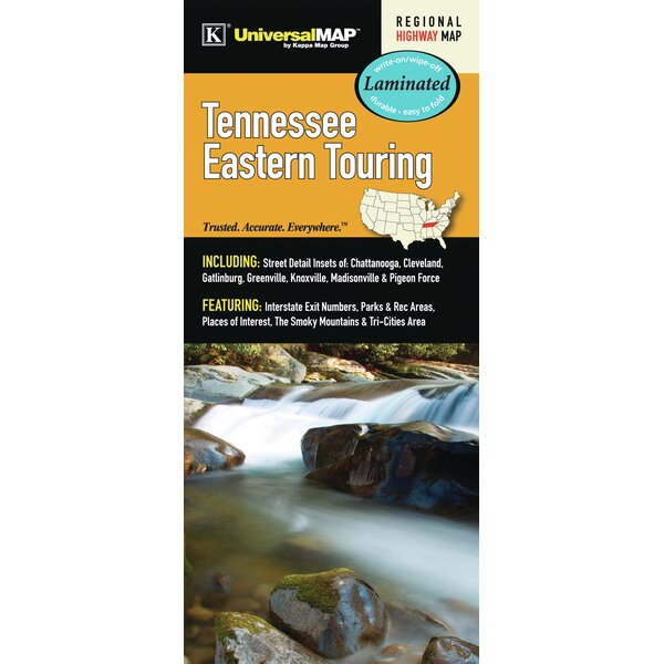 Tennessee Eastern Touring Regional Laminated Map by Universal Map