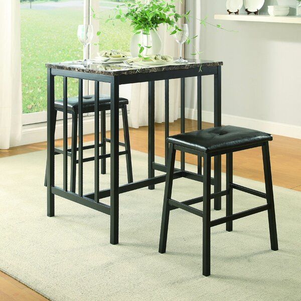 Edgar 3 Piece Counter Height Pub Table Set by Woodhaven Hill
