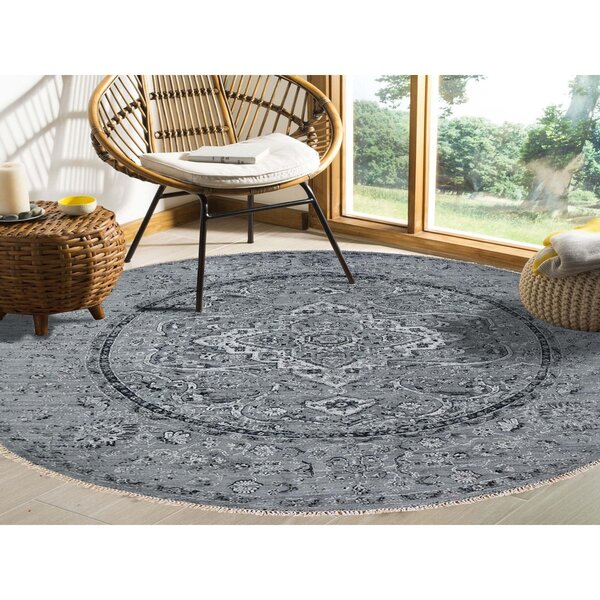 One-of-a-Kind Morrice Hand-Knotted Gray 12' Round Silk Area Rug