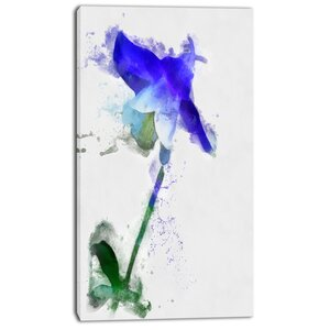 'Blue Bellflower Sketch Watercolor' Painting Print on Wrapped Canvas by Design Art