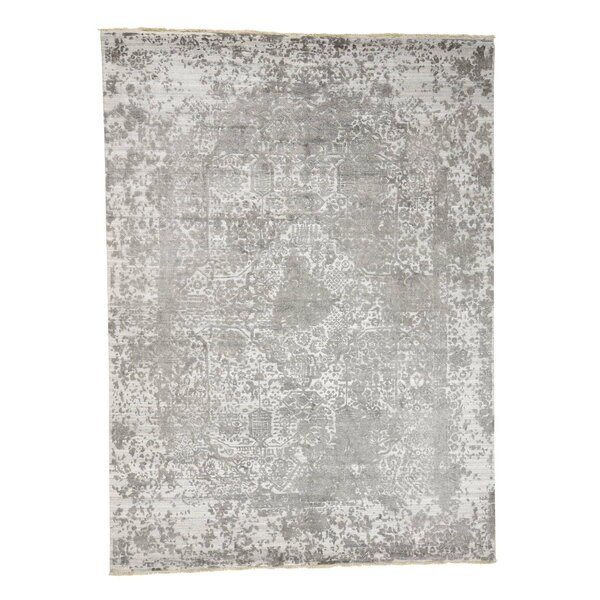 One-of-a-Kind Goodyear Broken Persian and Pure Oriental Hand-Knotted Silk Gray Area Rug by World Menagerie