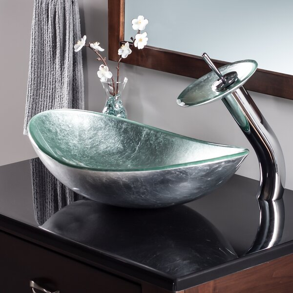 Argento Glass Oval Vessel Bathroom Sink with Faucet by Novatto