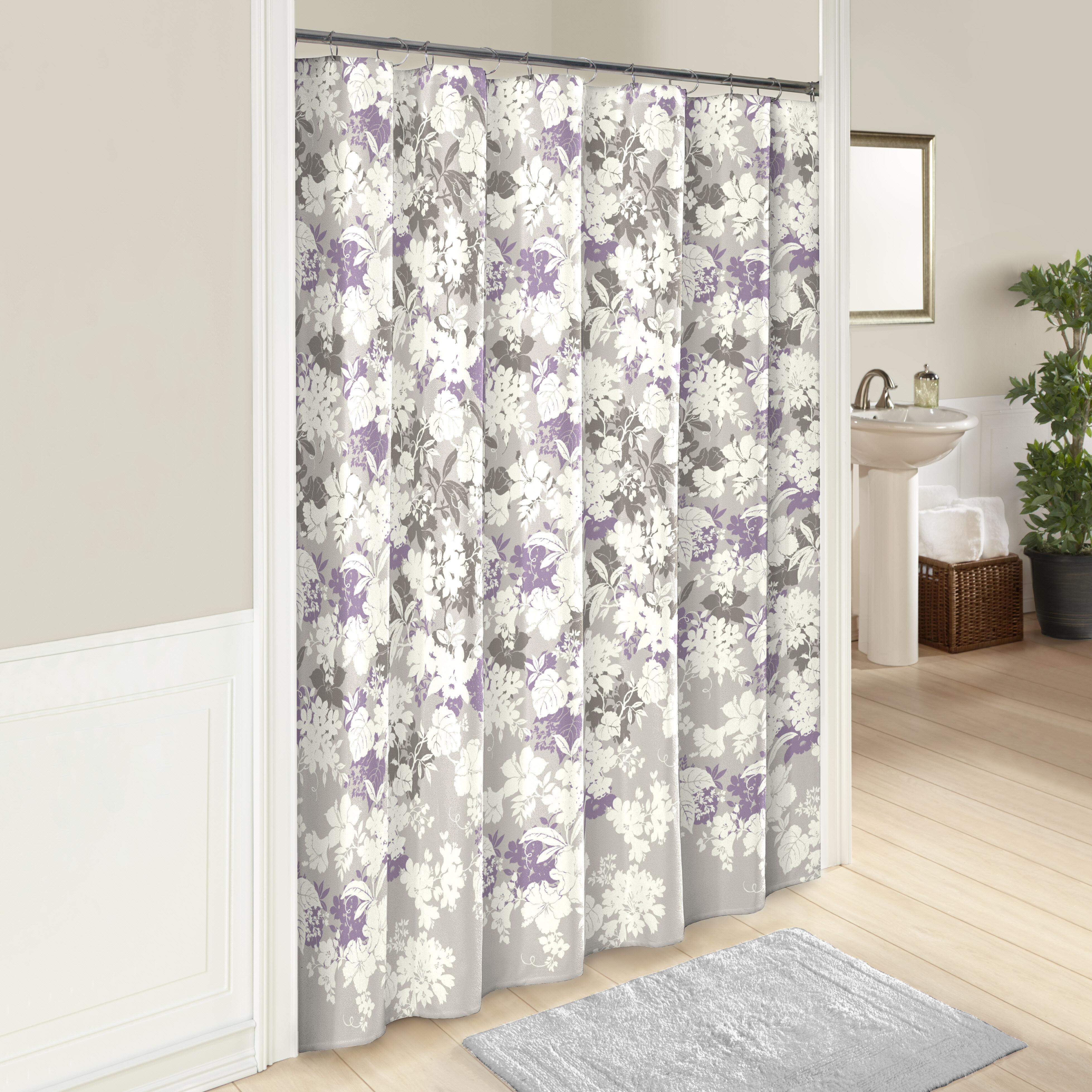 Vintage Set of 12 Purple Rose Floral Shower Curtain Hooks PRE-OWNED