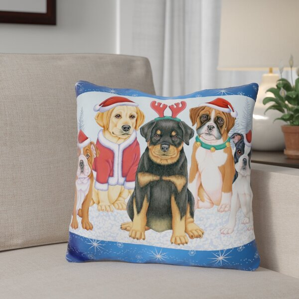 Berkey Christmas Pups Throw Pillow by The Holiday Aisle