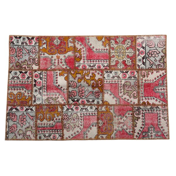 Karin Patchwork Hand-Knotted Wool Pink Area Rug by Bloomsbury Market