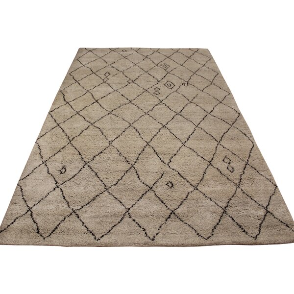 Crosson Hand Knotted Wool Tan/Dark Brown Indoor Area Rug by 17 Stories
