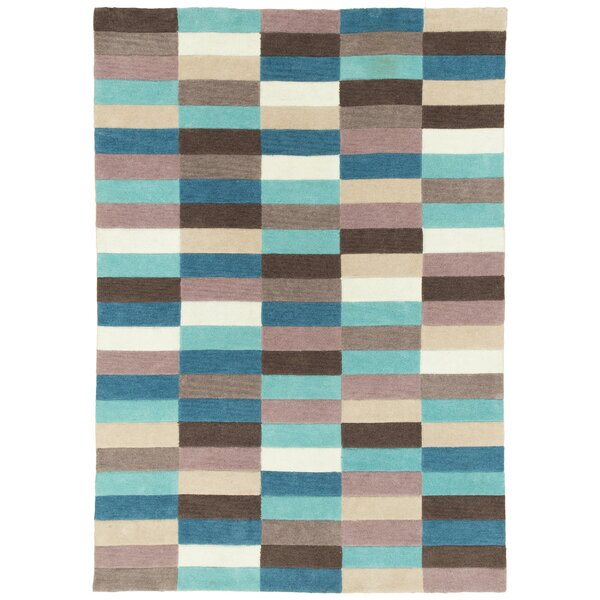 Hand Carved Blue Mix Squares Area Rug by Brady Home