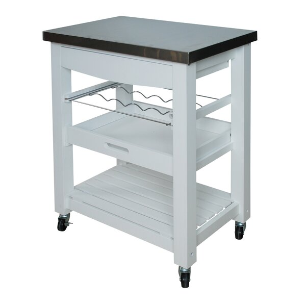 Precious Compact Kitchen Cart with Stainless Steel Top by Winston Porter