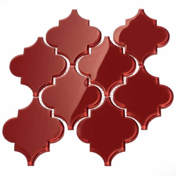Water Jet 3.9 x 4.7 Glass Mosaic Tile in Ruby Red by Giorbello