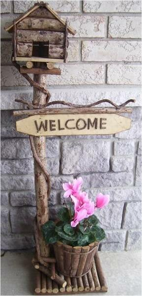 Welcome Wood and Vine 42 in x 9 in x 7 in Birdhouse by Mr. MJs