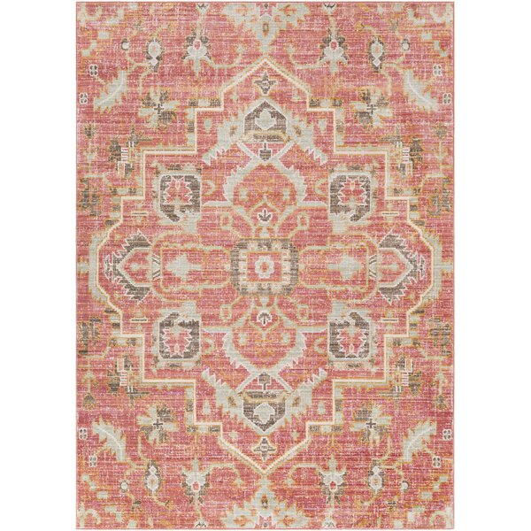 Almaraz Distressed Pale Pink/Pale Blue Area Rug by Bungalow Rose