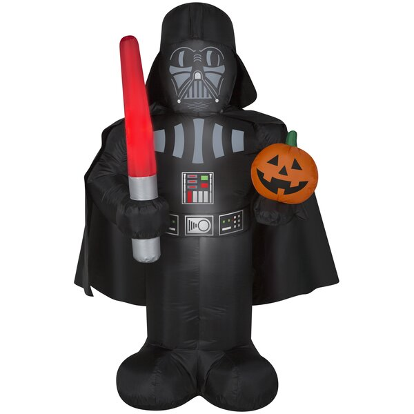 Darth Vader Inflatable with Pumpkin and Light Saber MD Star Wars (WM) by The Holiday Aisle