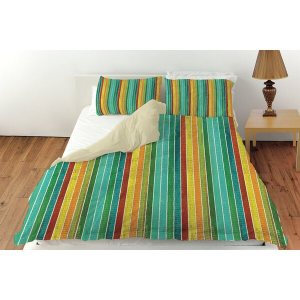 Aqua Bloom Stripes Duvet Cover Collection