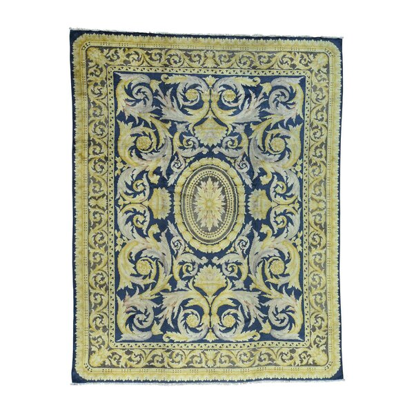 One-of-a-Kind Gayden Old Spanish Savonnerie Exc Cond Hand-Knotted Blue Area Rug by World Menagerie