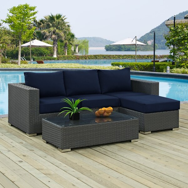 Tripp 2 Piece Rattan Sunbrella Sectional Seating Group with Cushion by Brayden Studio