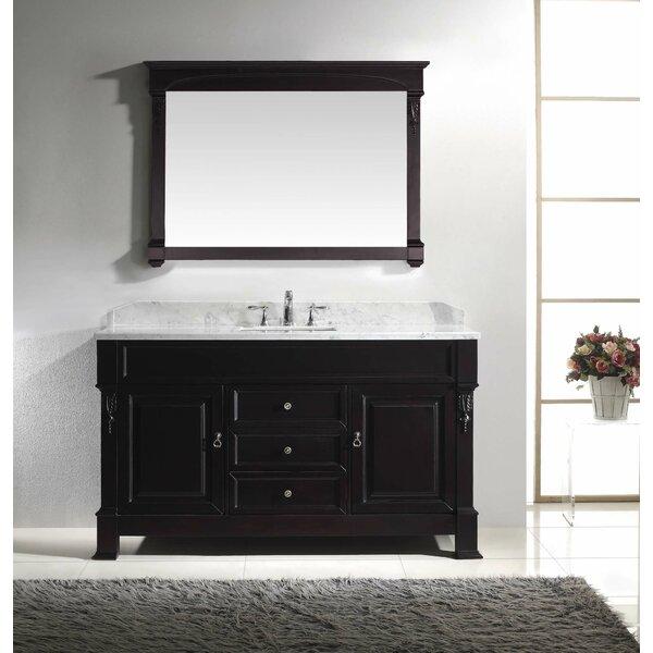Virtu USA Huntshire 60 Single Bathroom Vanity Set With White Marble Top And Mirror Reviews