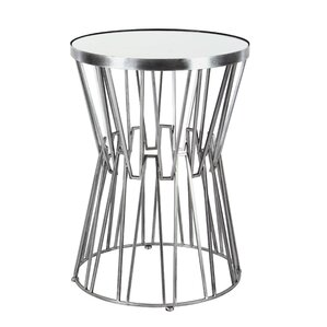 Borealis Modern Iron and Glass Top Hourglass-Shaped End Table by Orren Ellis