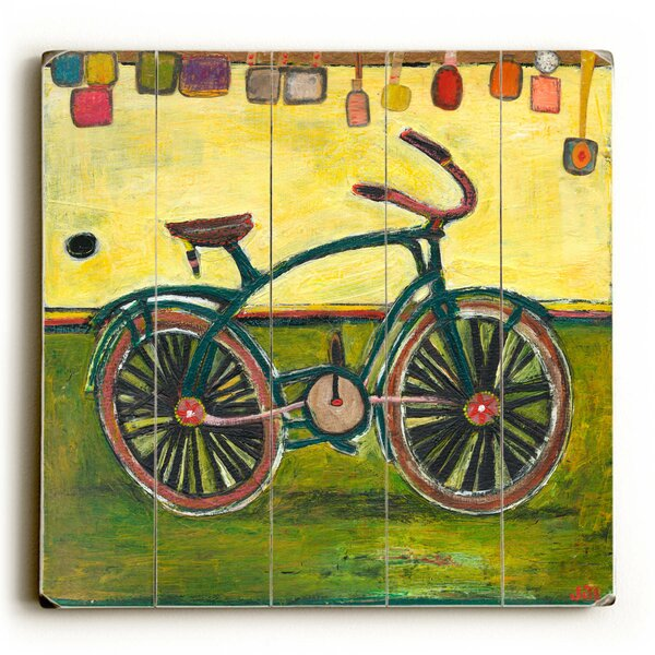 Green Bike Painting Print by Latitude Run