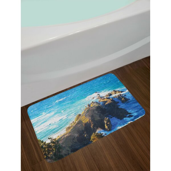 Country Aerial View of Australian Cliffs by the Sea with Waves High Destination of Nature Non-Slip Plush Bath Rug by East Urban Home