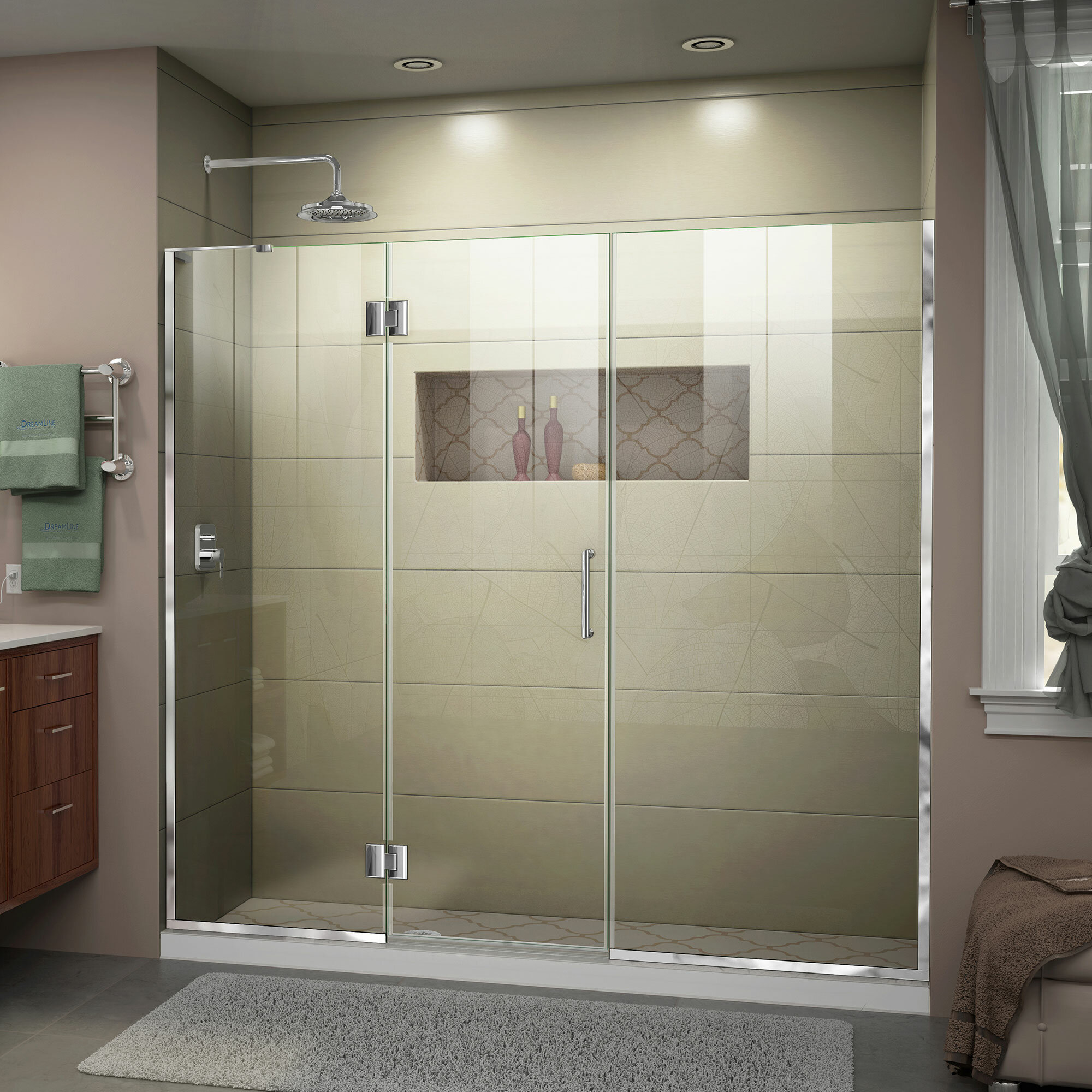 """Unidoor-X 10.10"""" W x 10"""" H Hinged Frameless Shower Door with ClearMax™  Technology"""