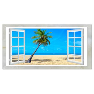 Open Window to Beach with Palm Graphic Art on Wrapped Canvas by Design Art