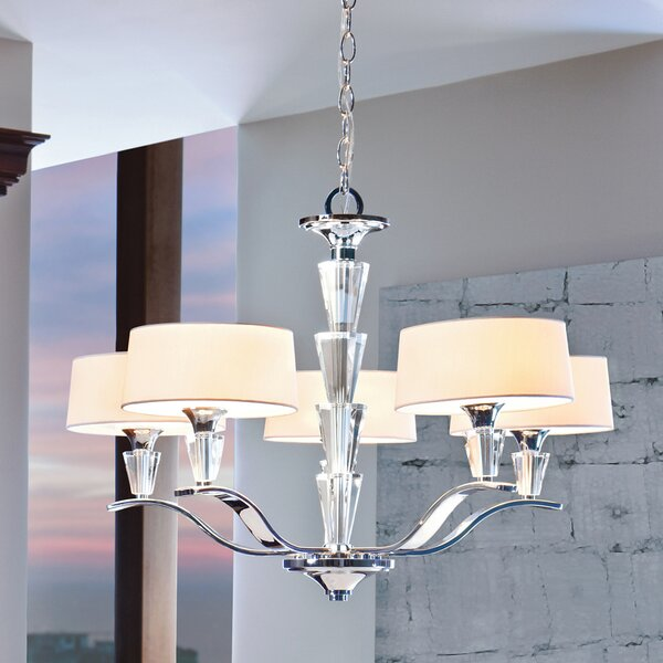 Brookefields 5 - Light Shaded Classic / Traditional Chandelier by Rosdorf Park Rosdorf Park