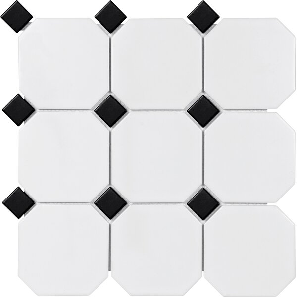 Sail 4 x 4 Porcelain Mosaic Tile in Onyx/White by Parvatile