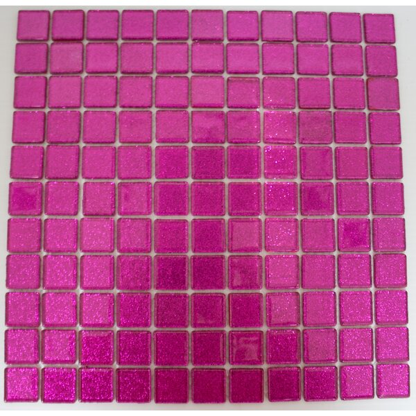 1 x 1 Glass Mosaic Tile in Fuchsia Pink by Susan Jablon