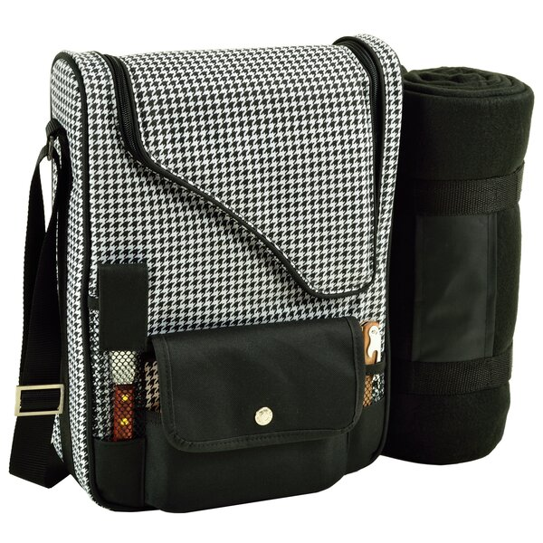 2 Can Houndstooth Bordeaux Wine and Cheese Picnic Cooler by Picnic at Ascot
