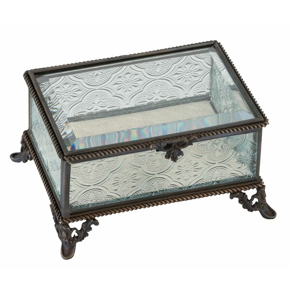 Rustic Rectangular Glass Ring Box by Lillian Rose