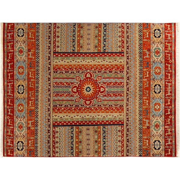 Baldwin Park Hand-Knotted Wool Rust/Tan Area Rug by Bloomsbury Market