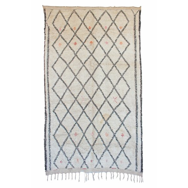 Beni Ourain Vintage Moroccan Hand Knotted Wool Cream/Black Area Rug by Indigo&Lavender