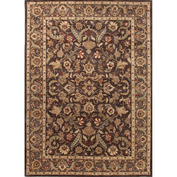 Trinningham Hand-Woven Wool Tan/Dark Brown/Ruby Area Rug by Charlton Home