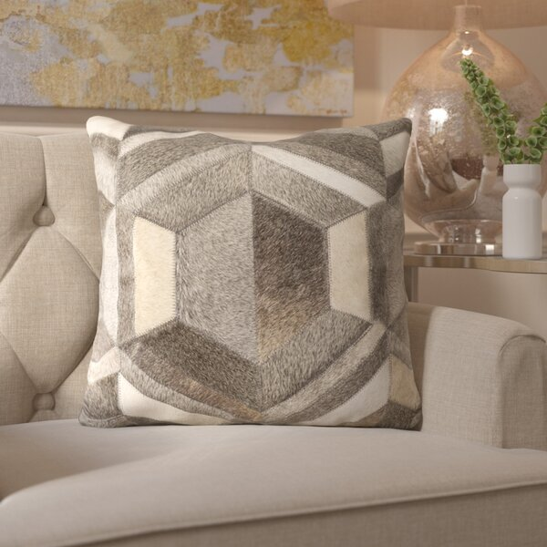 Gertrud Geometric Leather Throw Pillow by Willa Arlo Interiors