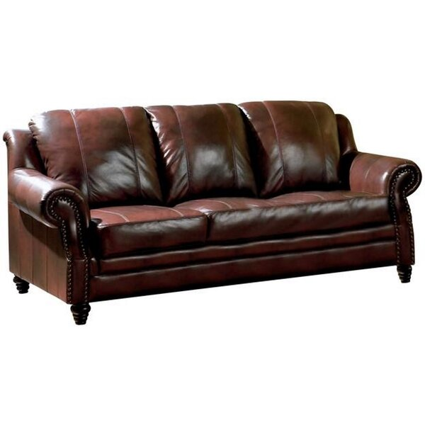 New Chic Downes Leather Sofa by Darby Home Co by Darby Home Co