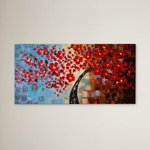 'Bouquet of Textured Red' Painting on Wrapped Canvas by World Menagerie
