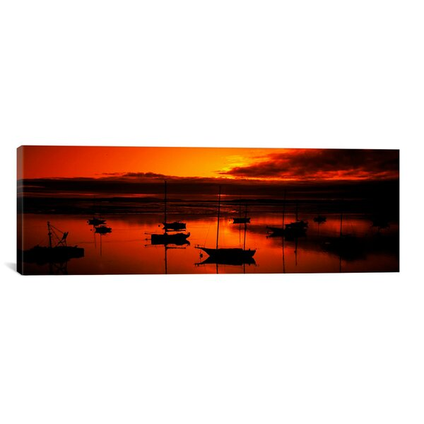 Panoramic Boats in a Bay, Morro Bay, San Luis Obispo County, California Photographic Print on Canvas by iCanvas