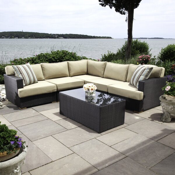 Salina 6 Piece Rattan Sectional Seating Group with Cushions by Madbury Road