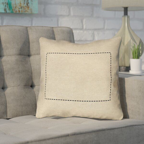 Sherilyn Wyoming Dash Outline Outdoor Throw Pillow