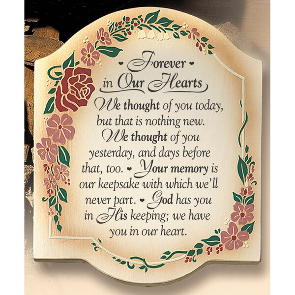 Simple Expressions Forever in Our Hearts Textual Art Plaque by Dexsa
