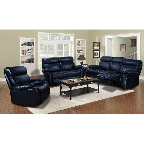 #1 Market Garden Reclining  3 Piece Leather Living Room By Red Barrel Studio Spacial Price