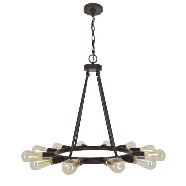Flower Hill 12-Light Wagon Wheel Chandelier by Cor