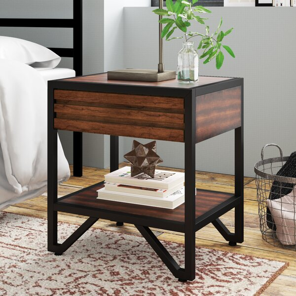 Bourdon Stacked Wood 1 Drawer Nightstand by Mercury Row
