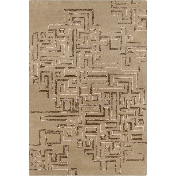 Burns Patterned Contemporary Wool Tan Area Rug by Wrought Studio