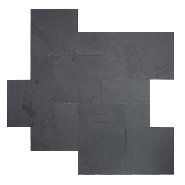 Montauk Gauged 16 x 24 Natural Stone Field Tile in Black by MSI